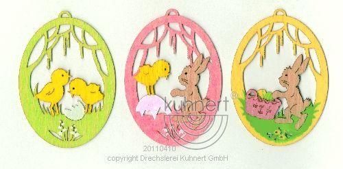 Drechslerei Kuhnert Baumschmuck Ei mit Hasen 3er-Set
