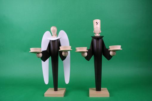 KWO Engel und Bergmann für Teelichter Mooreiche