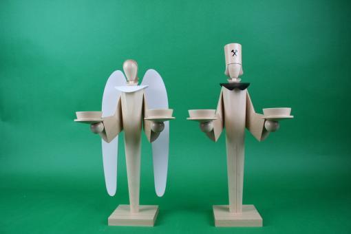 KWO Engel und Bergmann für Teelichter Natur