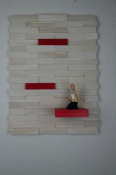 Ulbe Design Holzwandbild art line weiß/rot modern
