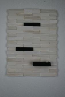 Ulbe Design Holzwandbild art line weiß/schwarz mit Teelichthalter modern
