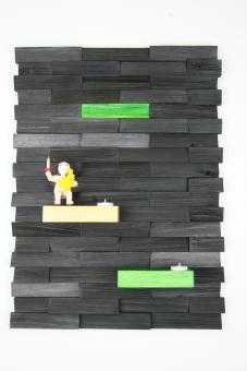 Ulbe Design Holzwandbild art line schwarz/grün mit Teelichthalter modern