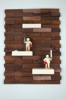 Ulbe Design Holzwandbild art line braun/weiß mit Teelichthalter modern