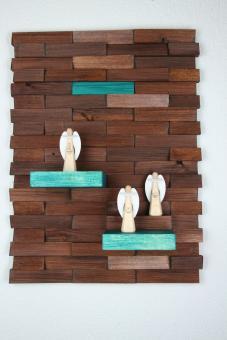 Ulbe Design Holzwandbild art line braun/türkis modern