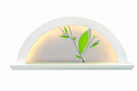 KWO Lichterbogen Erle weiss, Blätter grün, LED