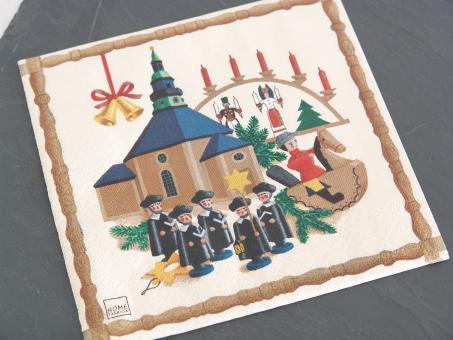 Servietten Motiv Seiffener Dorf mit Kurrende 33x33 cm