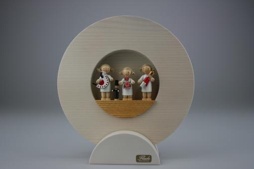 Flade Figurenbild Drei Engelkinder mit Reiterlein, Pfefferkuchenfrau und Nußknacker