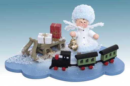 Drechslerei Kuhnert Schneeflöckchen mit Eisenbahn auf Wolke