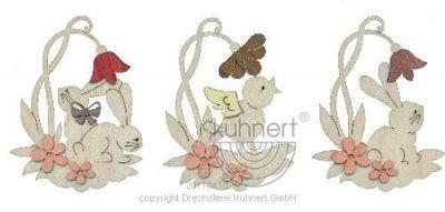Drechslerei Kuhnert Baumschmuck Hase mit Blume