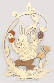 Kuhnert Fensterbild Hase mit Hasenbaby