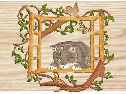 Holznischel Fensterbild Katze am Fenster, farbig