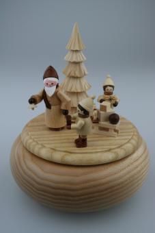 Spieldose Weihnachtsmann mit Schlitten,natur *NEU