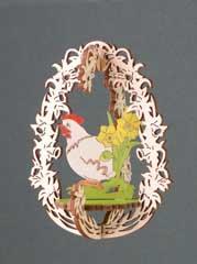 Holznischel Baumbehang Huhn, farbig