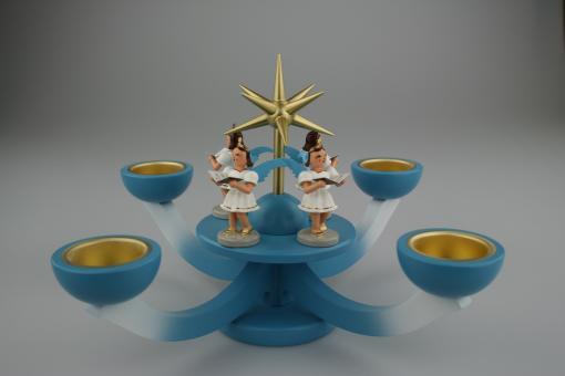 Blank Adventsleuchter Teelicht mit Engel blau