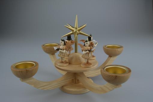 Blank Adventsleuchter Teelicht mit Engel natur