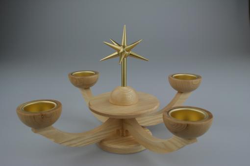 Blank Adventsleuchter Teelicht ohne Engel natur