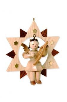 Blank Engel im Stern mit Leier mittelgroß, natur