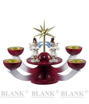 Blank Adventsleuchter Teelicht mit Engel, rot